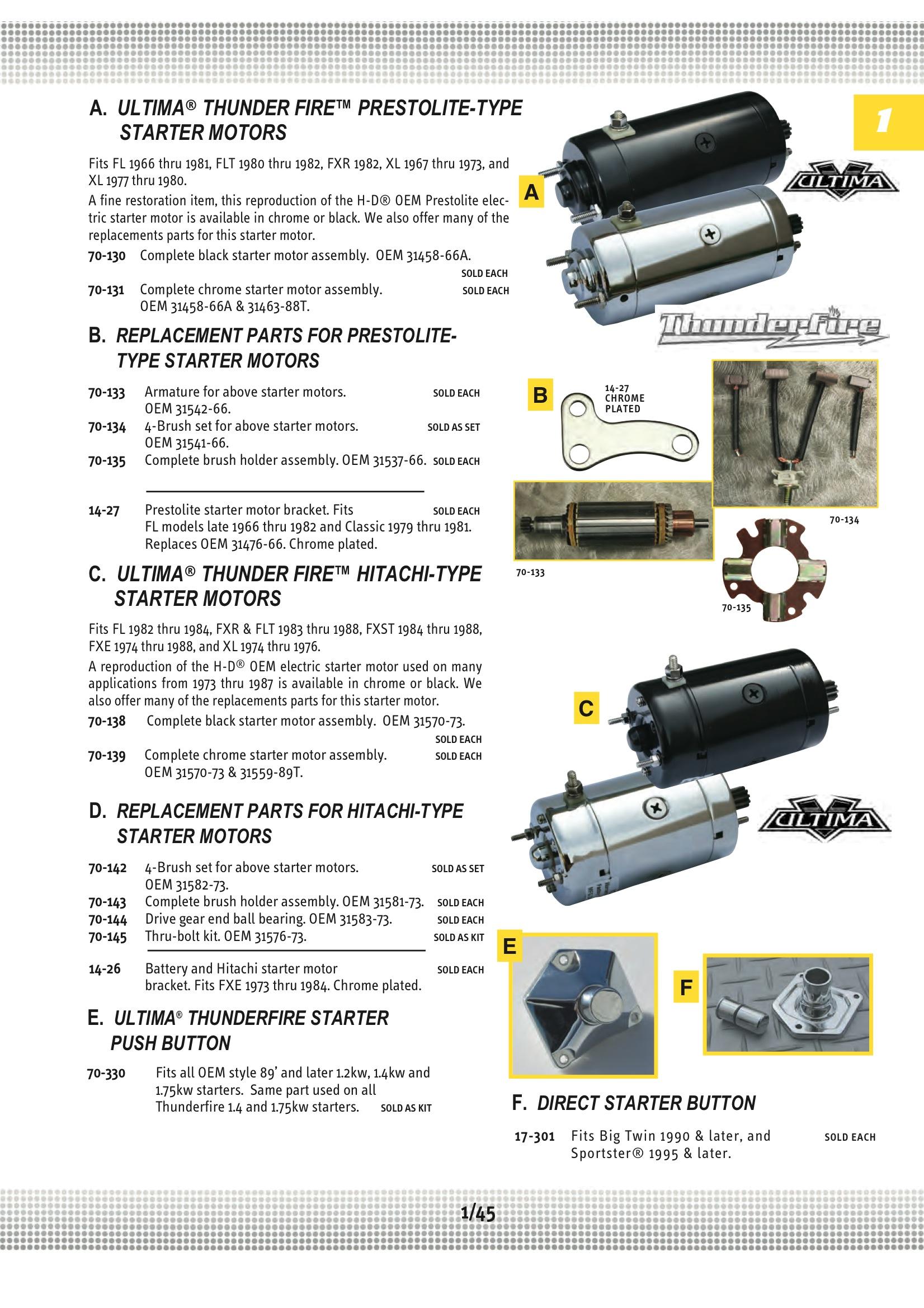 Electrical Batteries Wiring Lights Starter Motors Ultima Motor Diagram Armature Midwest 70 133